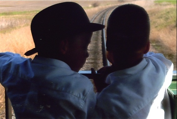 Little boys on train